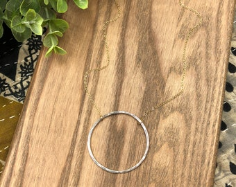 Large Hammered Circle Necklace- Silver and Gold / Eternity Hoop Necklace / Circle Necklace / Statement Necklace / Layering Necklace