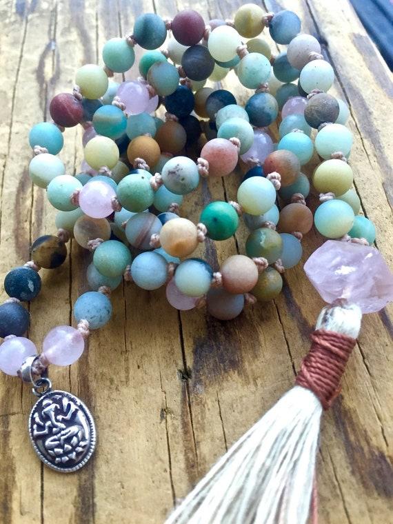 Amazonite Mala Beads Rose Quartz Ganesh Charm Remove Obstacles Chakra Necklace 108 Beads Yoga Jewelry Spiritual Gift