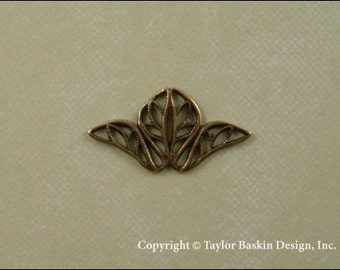 Victorian Filigree Stamping in Antiqued Polished Brass (item 703A-mini AG) - 6 Pieces