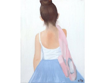 Ballerina Painting, 11 x 14, Oil Painting, Original Art, Dance Painting, Ballet Painting, ballet shoes painting, children's art, dance art