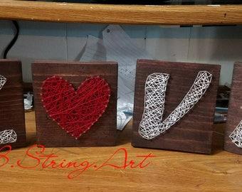 Custom string art LOVE - heart - love - anniversary - wall decoration