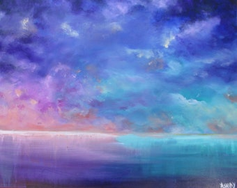 """Original, Abstract Painting, Abstract Landscape Painting, Seascape Painting, Cloud Painting, Wall Decor, Canvas Painting, """"To See in UV"""""""