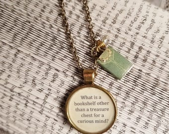 Book Nook, Book Quote Necklace, Quote Necklace, Bookshelf Quote Necklace, Handmade Book, Literature Necklace, MarjorieMae