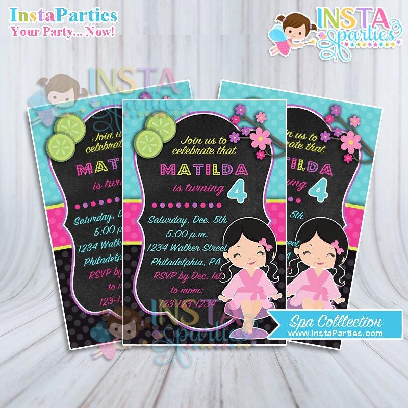 Spa party invitations cute little girl birthday invitation zoom filmwisefo