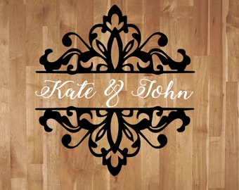 Wedding Damask Personalized with Names Dance Floor Decal Reception Vinyl Wall Decal Lettering Decor