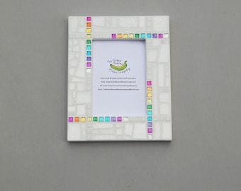 Mosaic Picture Frame, 5 x 7 Picture Frame, White + Rainbow Glitter Mosaic Tile, Handmade Stained Glass Mosaic Picture Frame