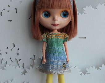 Blythe cute summer knitted dress with headband