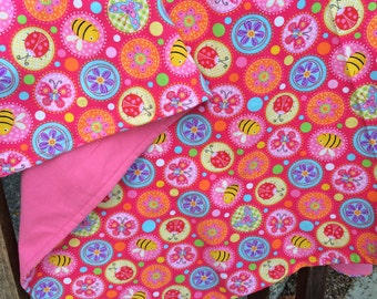 Flannel Baby Blanket / Kid Car Blanket - Ladybugs and Bees in Circles on Pink, Personalization Available