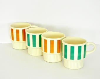Aqua- Green and Orange Candy Striped Mugs- U.S.A.- Stackable