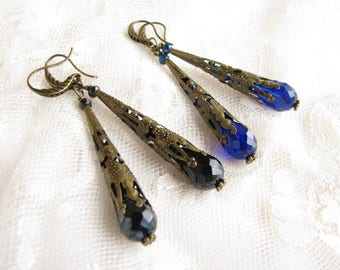 Black earrings Blue earrings Valentine day gift Gothic earrings Dangle earrings Blue Drop earrings Victorian earrings Gift for wife Filigree