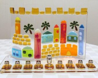 Hanukkah Menorah, Fused Glass Jerusalem Menorah, Jewish Wedding Glass Gift, Bar Mitzvah Gift, Hanukkah Gift, Jerusalem Wall Menorah, Judaica