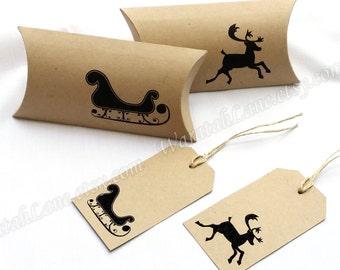 Printable Pillow Box Christmas Pillowbox Reindeer Sleigh Gift Tags Packaging Set Monotone Black Holidays Festive