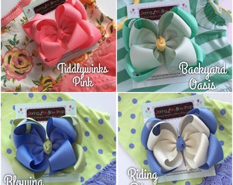 """Double Stacked Bows to Match Matilda Jane The Adventure Begins -- choose 5"""" or 6"""" bows -- AMAZING quality handmade in Tennessee"""