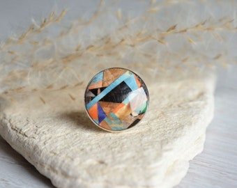Unique mosaic ring, colorful wood mosaic and silver jewelry, one of a kind multicolor statement round gem ring, wood resin and silver ring
