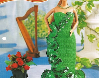 Emerald Party Gown, Crochet Pattern, Gift Idea, Annies Fashion Doll, Doll Dress, Vintage 1996, Leaflet FCC13-04, Sewing Pattern, Supplies