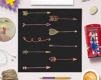 FOLLOW YOUR ARROW, Tribal Arrow Clipart, Hand Drawn Arrow Clip Art, Arrows Graphics, Set of 27 Doodle Arrows, Instant Download, BUY5FOR8