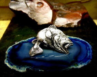 BASS FISH Tie Tack  Sterling Silver Free Domestic Shipping