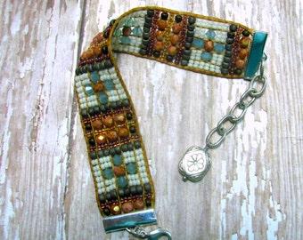 Hand Loomed Beaded Bracelet, Woven Beaded Bracelet, Artisan Beaded Bracelet, Southwest Style Bracelet, Beaded Bracelet, Beadwoven Bracelet