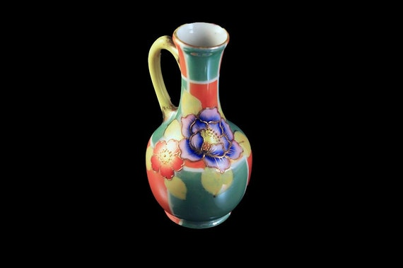 Small Lusterware Pitcher, Tashiro Shoten Ltd, Multicolored, Floral, Gold Trim, Made in Japan, Collectible