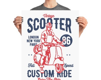 Vintage Scooter Custom Ride London New York Paris Full Speed Poster