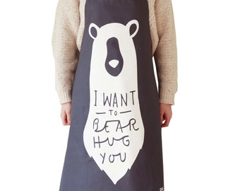 Kitchen Apron Bear - bear apron - unique apron - kitchen gift - kitchen apron 0 gift for her - gift for him - fun kitchen gift