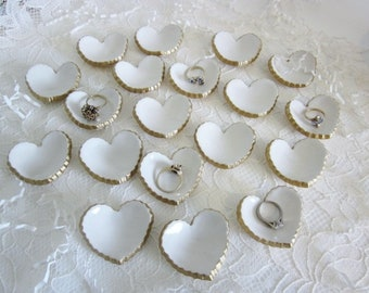 Bridal shower Wedding favors, heart favor, Birthday party favor, engagement favor, Party favor, ceramic pottery,  white and gold, In Stock,