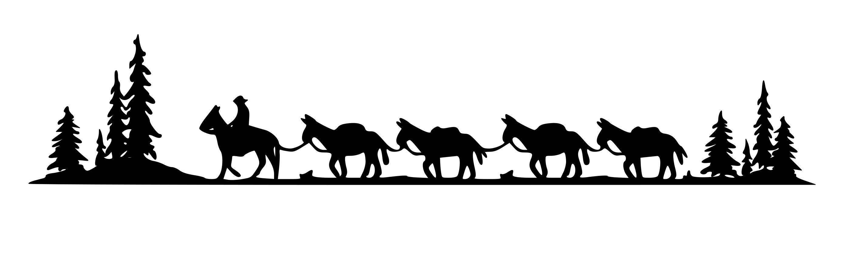 Horse Mule Pack Train Trailer Decal Pack Train Horse