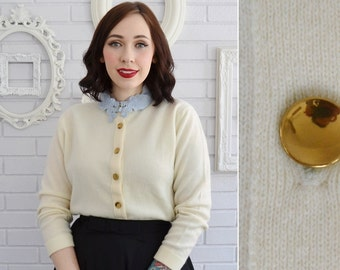 Vintage 1950s Cashmere Cardigan in Cream with Metal Buttons by Dalton Size XS or Small