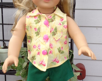 "Summer Shorts & Top for 18"" Dolls. Made in USA fits American Girl, Our Generation Dolls"