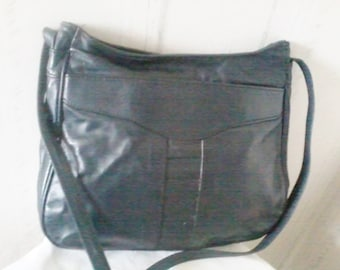 Navy blue leather handbag vintage