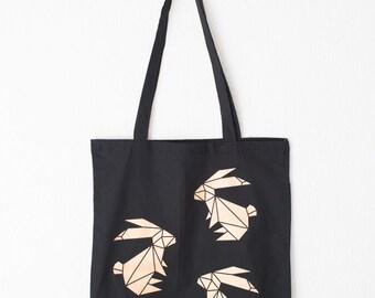 Hand printed cotton bag / jute bag with geometric Rabbit golden print Black /Off White / 36 x 40 cm