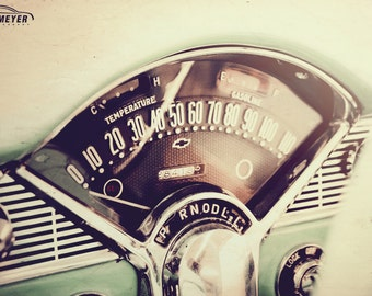 Chevy Bel Air Dashboard, Large Wall Art Print, Automotive Art, Automotive Decor, Man Cave, Fine Art Print, Father's Day