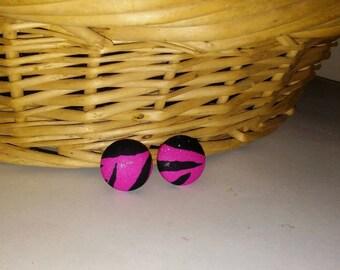 Pink Zebra Print, Button Earrings