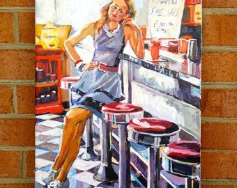 Retro Americana Vintage Diner. Waitress Restaurant Diners, Food. Original Painting American Girl. Figurative Canvas painting Gwen Meyerson