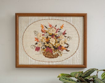 Vintage Framed Flower Basket Wall Hanging - Cross Stitch and Crewel Embroidery