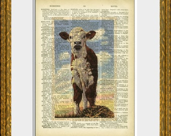 VINTAGE CALF PHOTO recycled book page art print - an upcycled 1800's dictionary page with a vintage calf photograph - wall decor