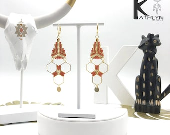 Earrings MAYA Brown caramel and gold