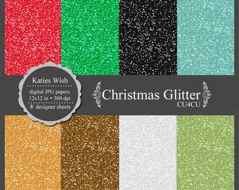 Christmas Glitter digital paper kit, CU OK, instant download file for digital scrapbooking, green, red, gold, silver