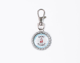 dairy allergy alert, severe dairy allergy, dairy allergy alert tag, medical allergy tag, allergic to dairy tag charm, I have dairy allergies