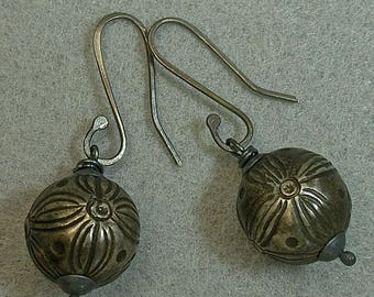 Antique Qing Chinese Silver Bead Vintage Earrings Dangle Drop Ornate Etched ,Handmade Oxidized Sterling Silver Ear Wires