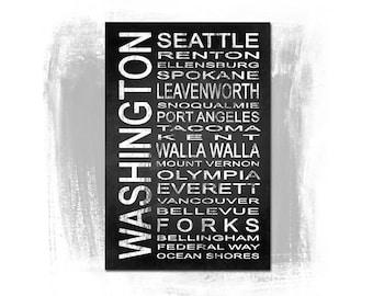 Washington State 1 Subway Sign Fine Art Print | Modern Chalkboard Typography