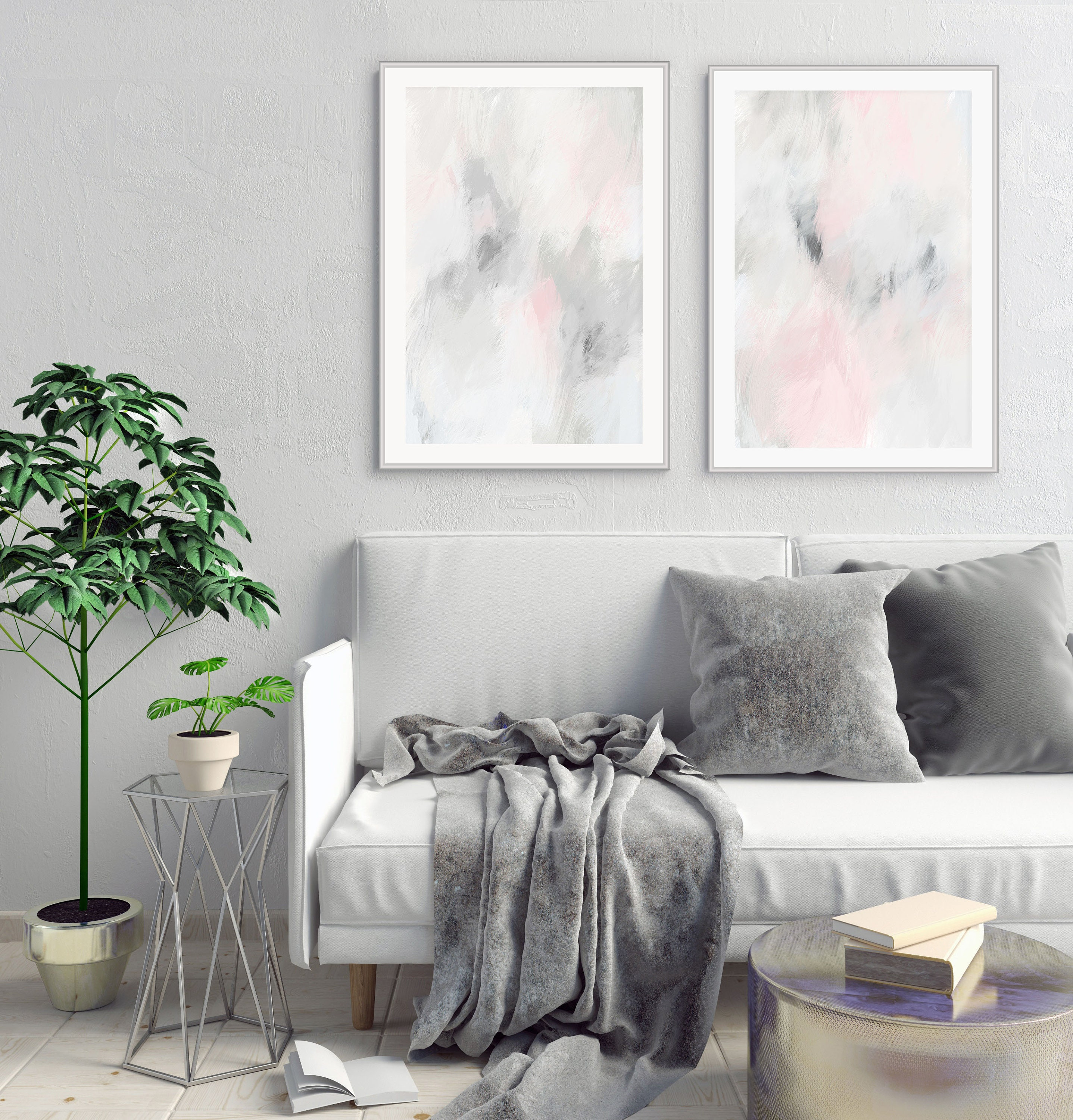 Printable Abstract Art, Set Of 2 Paintings, Pink And Grey Living Room Art,  Minimalist Modern Art
