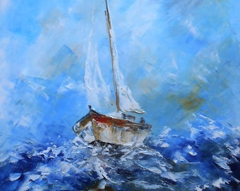 """Painting   """"Sailboat in open sea"""""""