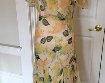 1930s 30s Silk Georgette Spring Cape Sleeved Springtime Floral Gown