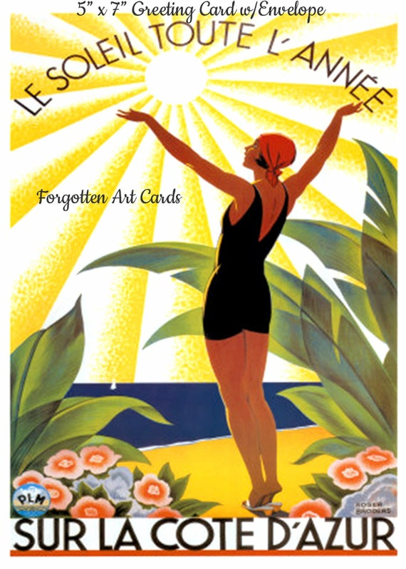 "Sur La Cote D'Azur, Travel Poster, 5""x7"" Greeting Card with Envelope, Forgotten Art Card, Bathing Beauty, Art Deco, Pretty Girl Postcards"