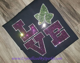 Alpha Kappa Alpha Inspired Love Crystallized Bling Bling Rhinestone Tee