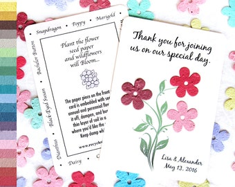 100 Plantable Daisy Wedding Favor Thank You Cards - Personalized - Navy Blush Pink