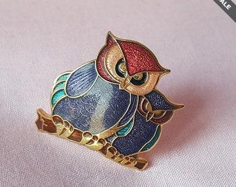 Lovely Vintage Enamel Cloisonne Owl Bird Brooch