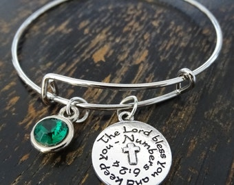 The Lord Bless You And Keep You Bangle Bracelet, Adjustable Expandable Bangle Bracelet, Christian Bracelet, Religious Bracelet, Bible Verse