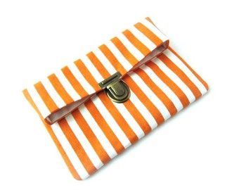 Fold over clutch, white orange clutch bag with bronze purse thumb lock, white orange stripe makeup bag, small folded clutch pouch